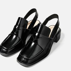 Image 6 of LEATHER SLINGBACK LOAFERS from Zara