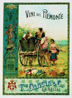 """""""Vini del Piemonte"""" Uno dei primi manifesti del vino Italiano, realizzato nel 1895 da Alberto Rossi (1858-1936) per la ditta Gancia di Canelli"""