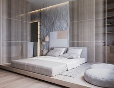 Describe this home in ONE word! 'Natural' is a 86 sq. contemporary apartment concept with a calm soft-toned interior. This apartment shows a pre-dominant Modern Master Bedroom, Modern Bedroom Design, Minimalist Bedroom, Home Bedroom, Bedroom Decor, Hotel Bedroom Design, Natural Bedroom, Modern Bedrooms, Eclectic Design