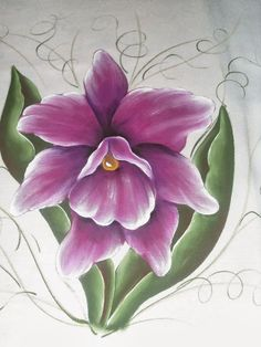 Tole Painting, Fabric Painting, Watercolor Paintings, Fabric Paint Shirt, Flower Outline, Flower Art, Orchid Drawing, Fabric Paint Designs, Beautiful Flowers Wallpapers