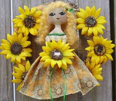 Primitive Sunflower Wreath with Folk Art Doll by PiecakePrimitives