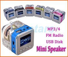 eb54c83171f Comprar De luz de cristal Mini altavoz Digital música radio portátil Micro  SD TF USB disco mp3 radio fm pantalla LCD altavoz radio reloj RDA028
