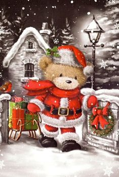 illustrations by S. Christmas Scenes, Noel Christmas, Vintage Christmas Cards, Christmas Pictures, All Things Christmas, Christmas Crafts, Christmas Decorations, Christmas Ornaments, Christmas Sayings