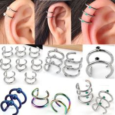 2PC Sliver Stainless Steel Hoops Closure Fake Cartilage Clip Ear Cuff Earring
