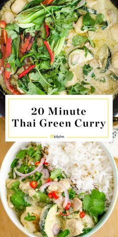 This Thai Green curry recipe is easy to make and you can customize it with vegetables or chicken to your liking. It only needs about 5 ingredients including green curry paste, coconut milk, zucchini and rice for serving. by thekitchn Read Easy Thai Green Curry, Thai Green Curry Recipes, Thai Green Curry Paste, Green Curry Sauce, Chicken Curry Soup, Green Curry Chicken, Coconut Curry Chicken, Green Curry Rice Recipe, Skinny Recipes