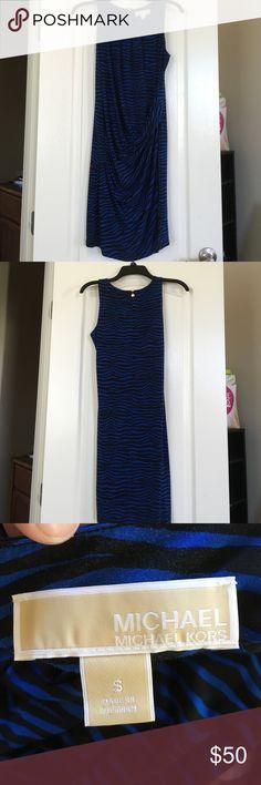 Michael Kors Dress Black and dark royal blue fitted zebra print dress. Back zipper. Very comfortable fit. Michael Kors Dresses Mini