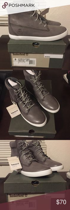 Size 8 grey women's Timberland leather boots. Women's Timberland dark grey soft leather boots. The top around the ankle feels more like suede. Never worn, with tags attached. No trades. I will send more pictures if requested! Fits true to size 8. Timberland Shoes Lace Up Boots