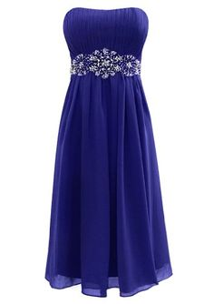 Fiesta Formals Short Flowing Chiffon Formal Evening Gown Bridesmaids Prom Dress - Royal - XS