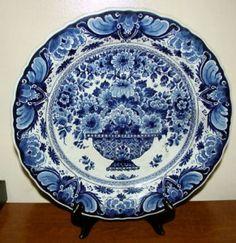 1957 Vintage Royal Delft de Porceleyne Fles Charger - Floral Basket