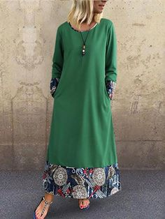 Load image into Gallery viewer, Fashion Cotton And Linen Printing Casual Dresses Girly Outfits, Classy Outfits, Chic Outfits, Women's Fashion Dresses, Casual Dresses, Fashion Fashion, Fashion Women, Hijab Stile, Long Sleeve Cotton Dress