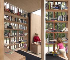 Canadian architecture firm Atelier Kastelic Buffey reinvigorated Toronto's public spaces with their Story Pods – small structures serving as sites for open air reading spaces. Architecture Tumblr, Library Architecture, Mobile Architecture, Wood Architecture, Built In Seating, Office Seating, Toronto, Public Library Design, Bookstore Design