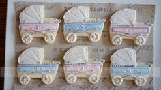 The Sweet Atelier | Vintage Baby Shower | Custom Designed Decorated Sugar Cookies. Baby Carriages