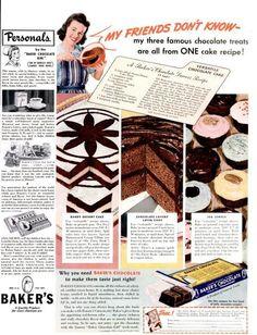 Dying for Chocolate: VERSATILE CHOCOLATE CAKE RECIPE: Retro Ad & Recipe
