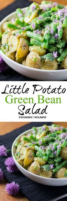 Little Potato Green Bean Salad by Noshing With The Nolands is a beautiful, scrumptious salad for summer! So easy to prepare using Creamer potatoes, fresh green beans and purple chive flowers.
