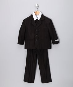 Black Pinstripe Suit Set from Little Stallion on #zuliliy #dapper #boys #kids #fashion #style #suit