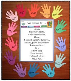Back to school activities: Choose 1 of 4 social contract posters, glue it on construction paper and then glue it to the center of a piece of tag board. Trace childrens hands and frame their contract. Kiddos sign their name on their print. For extra pizzazz, when school pix come back, copy, cut glue one to their hand.