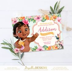 Baby Moana Birthday Invitation Summer Tropical Pool Party Supplies Decor