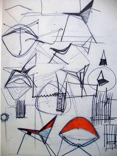 Poul Kjaerholm sketch of chairs courtesy of Flicker user plindberg Poul Kjaerholm: The Final Figure of Danish Furniture Design Sketch Inspiration, Design Inspiration, Moleskine, Gravure Illustration, Drawing Sketches, Drawings, Sketch Art, Drawing Art, Industrial Design Sketch