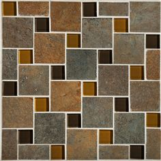 """Mannington 10"""" x 10"""" Antiquity Pinwheel - Iron Gate. Decorating preferences continue to be inspired by the bold contrasts found in nature. Glass mosaics bring these contrasts to life and have emerged as a dominant force in tile accessories. Our new introductions offer a unique take on this trend and feature a combination of clear and frosted glass, and natural stone in three versatile and fashion-forward blended color offerings."""