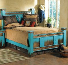 Shop Lone Star Western Decor now and get cost savings as high as on Western bedroom furniture, for example this Domingo Azul Bed! Western Bedroom Decor, Rustic Bedroom Furniture, Rustic Bedding, Western Furniture, Western Decor, Furniture Decor, Furniture Design, Western Headboard, Rustic Bedrooms