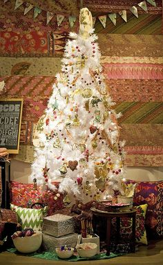 Country Christmas with white tree