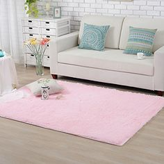 Hughapy Home Decorator Modern Shag Area Rugs Super Soft Solid Living Room Carpet Bedroom Rug and Carpets80 120cmPink ** Read more reviews of the product by visiting the link on the image. Note: It's an affiliate link to Amazon