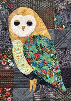how to do crazy patchwork Owl Quilt Pattern, Applique Quilt Patterns, Owl Patterns, Owl Quilts, Animal Quilts, Baby Quilts, Owl Fabric, Fabric Art, Small Quilts