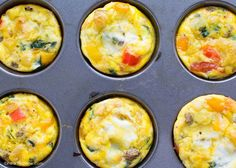 Mini Egg Frittatas - these egg muffins are full of protein and veggies, and less than 80 calories each. Great for Whole30, 21-Day Fix, or Paleo diets.