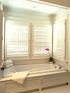 Interior Shutters For Bottom Half Of Bathroom Window | Bathroom Ideas |  Pinterest | Interior Shutters, Wood Interiors And Allen Roth
