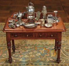 """""""For the Love of the Ladies"""" - October 1-2, 2016 in Phoenix, AZ: 106 French Miniature Serving Table Laden with Silver"""