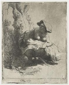 A woman making water - Rembrandt  - Completion Date: 1631