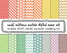 digital papers washi tape patterns, pastel spring colors, colorful easter…