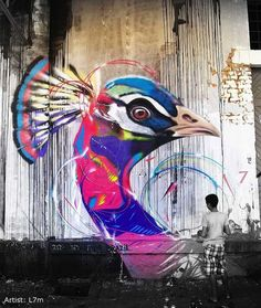 Post with 6126 votes and 194154 views. Beautiful graffiti birds by Brazilian street artist Bird Street Art, Street Art Graffiti, Art And Illustration, Art Illustrations, Abstract Sculpture, Sculpture Art, Metal Sculptures, Abstract Paintings, Steampunk Kunst