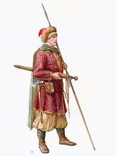 Kievan Rus  warrior in samite coat fabric. The second half of X century. On materials T.A.Pushkinoy, Smolensk region., Gnezdovo archaeological complex, burial grave -4.