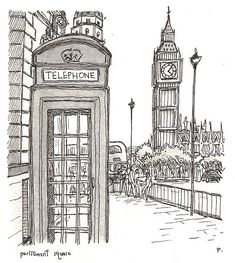 Perspective of Big Ben in London in respect to environment London Sketch, London Drawing, Line Drawing, Drawing Sketches, Art Drawings, Urban Sketchers, London Art, Pen Art, Art Sketchbook