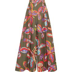 Peter Pilotto Printed cotton-blend wide-leg pants ($1,205) ❤ liked on Polyvore featuring pants, army green, print pants, olive pants, multi colored pants, wide-leg trousers and tie waist pants