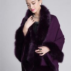 Fashion Winter Womens Leather Grass Fox Fur Collar Poncho Cape Bridal Wedding Dress Shawl Cape Lady Wool Vest Fur Coat