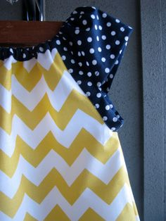 Dress - chevron zigzag yellow white navy blue polka dots girl baby toddler  0-3, 3-6, 6-12, 12-18, 18-24, 2T, 3T 4T 5T nautical Easter via Etsy