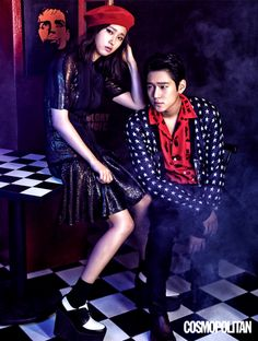 'Reply lead actors Ryu Hye Young and Go Kyung Pyo became a stylish couple for the September issue of Cosmopolitan. For the photoshoot, the co-stars modeled modern interpretations of punk rock fashion. Korean Actresses, Korean Actors, Actors & Actresses, Korean Dramas, Oh My Ghostess, Go Kyung Pyo, Cha Seung Won, Lee Bo Young, Yoo Ah In