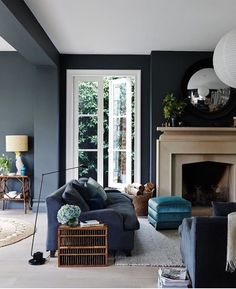 Perfect Navy Blue Living Room with Best 25 Navy Living Rooms Ideas On Home Decor Navy Blue Living Dark Walls Living Room, Navy Blue Living Room, Living Room Color Schemes, Living Room With Fireplace, Living Room Paint, Living Room Chairs, Living Room Interior, Home Interior, Living Room Designs