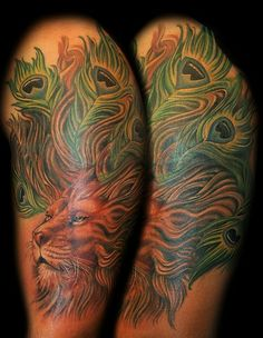 Marvin Silva - Lion Peacock Tattoo