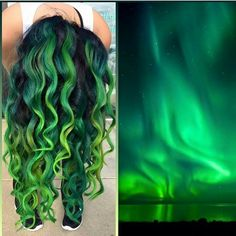 Taking her inspiration from the Aurora Borealis Northern Lights Tiffany Eeckhoute creates a thrilling multi-hued green hair color design! Funky Hair Colors, Green Hair Colors, Cool Hair Color, Colorful Hair, Hair Colour Design, Teal Hair, Pastel Hair, Crazy Hair, Rainbow Hair