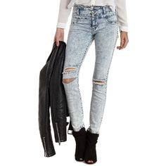 "Charlotte Russe Lt Acid Wash Refuge ""Hi-Waist Super Skinny"" Acid Wash... ($37) ❤ liked on Polyvore featuring jeans, pants, lt acid wash, high waisted stretch skinny jeans, distressed skinny jeans, high-waisted skinny jeans, stretch jeans and high-waisted jeans"