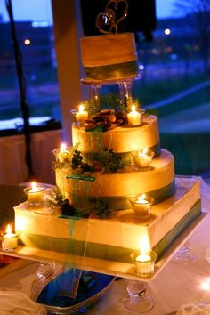 Fabulous Wedding Cake with an actual working waterfall - made by Wooten Sweet Cakes (Modern Waterfall cake?)