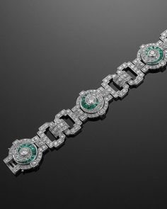 Art Deco Diamond and Emerald Swirls Bracelet, circa 1930s_ Fred Leighton