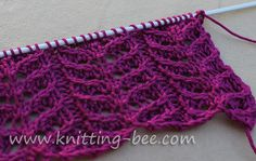 Rhombus Textured stitch. Using knit and purl combinations Knitting Stitch P...