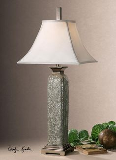 White Crushed Glass Table Lamp With Oval Shade