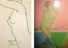 Left: Lucie Bennett, Green Torso, gloss paint on aluminum ||| Right: Guna Naruns, nude watercolor, eBay