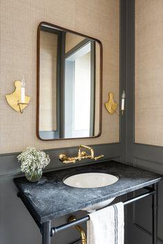 Bathroom Interior Design, Modern Interior Design, Interior Decorating, Modern Vintage Bathroom, Living Colors, Shower Floor Tile, Bath Tiles, Guest Bathrooms, Bathroom Inspiration
