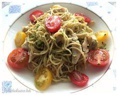 Pullantuoksuinen koti: Hyvän olon projektia ja ruokaa: Soijapapuspagettia. Soybean spaghetti with chicken and pesto genovese
